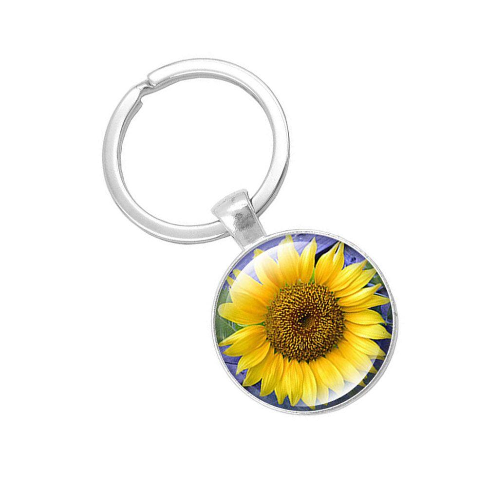Fashion Sunflower Pendant Keychain