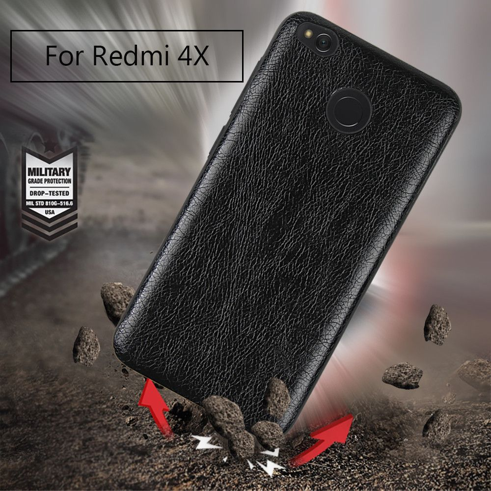 Cover Case for Redmi 4X Following From Crazy Ma Wen Leather Grain + PC
