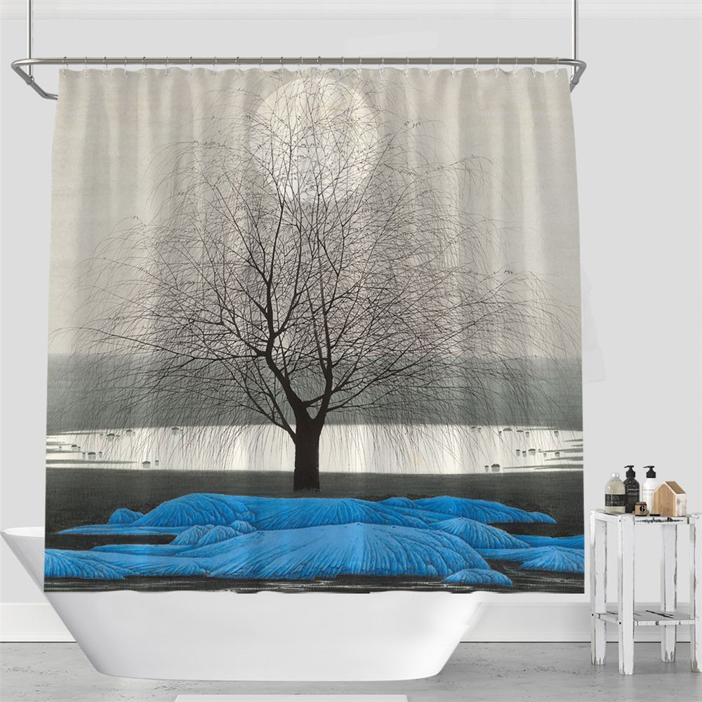 Colorful Tree Four Seasons Shower Curtain Extra Long Bath Decorations Bathroom Decor Sets with Hooks Print Polyester