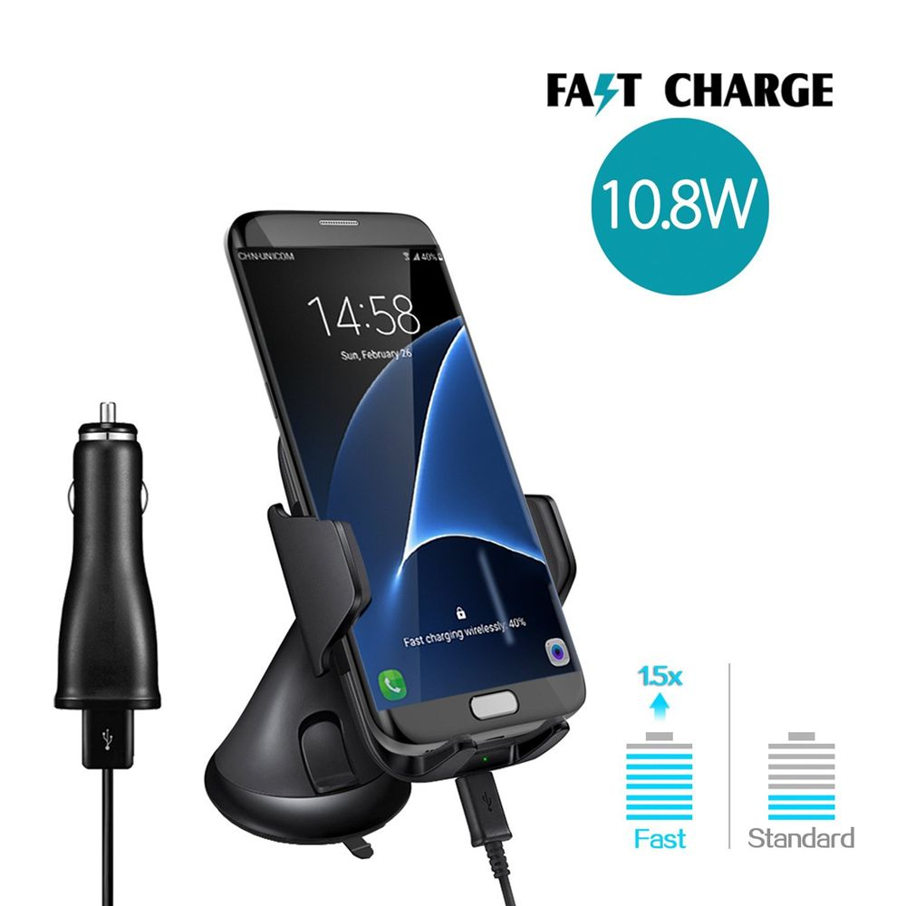 Fast Charger Air Vent Phone Holder Car Mount for Samsung Galaxy S8/S7/ IPhone 8/8+/IPHONE X and All Qi-Enabled Devices