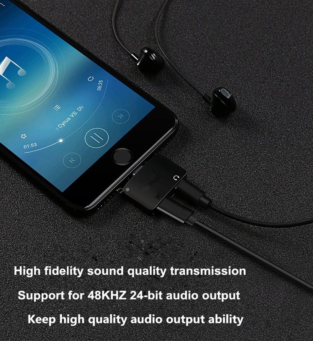 Support Charging Calling Music For 8 Pin Connector To Original Audio Jack 2 in 1 Adapter Headphone