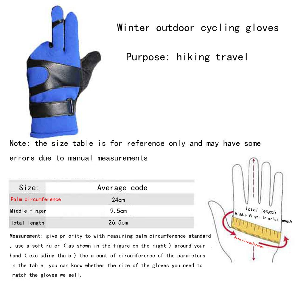 Autumn and Winter Ski Warm Cashmere Thickened Outdoor Cycling Gloves for Men and Women To Prevent Cold Wind