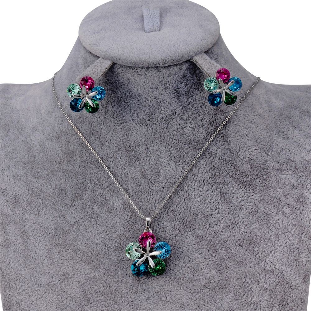 Colorful Crystal Petal Pendant Necklace Earring Set