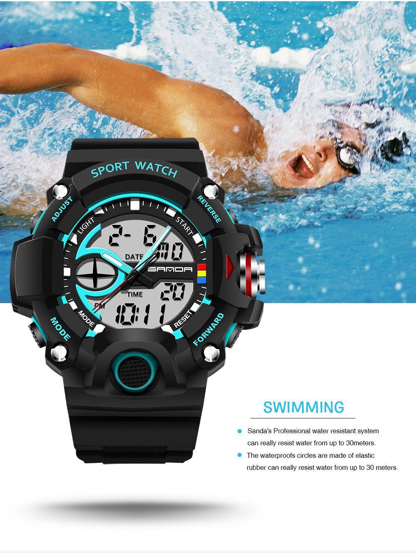 Sanda 715 1288 Fashion Trend Outdoor Sport Multi-Functional Silicone Strap Man Waterproof Watch