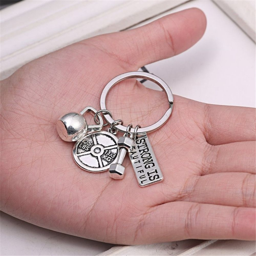 Power Sports Series Barbell Dumbbell Men and Women Couple Key Chain Jewelry