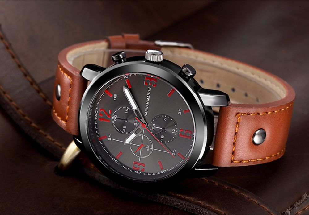 Men Leather Band Casual Fashion Wrist Quartz Watch for Dressing