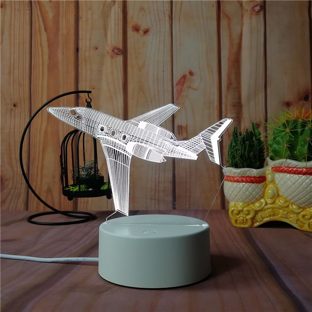 3D Airplane Small Night Light Plug LED Stereo Bedroom Bedside Lamp