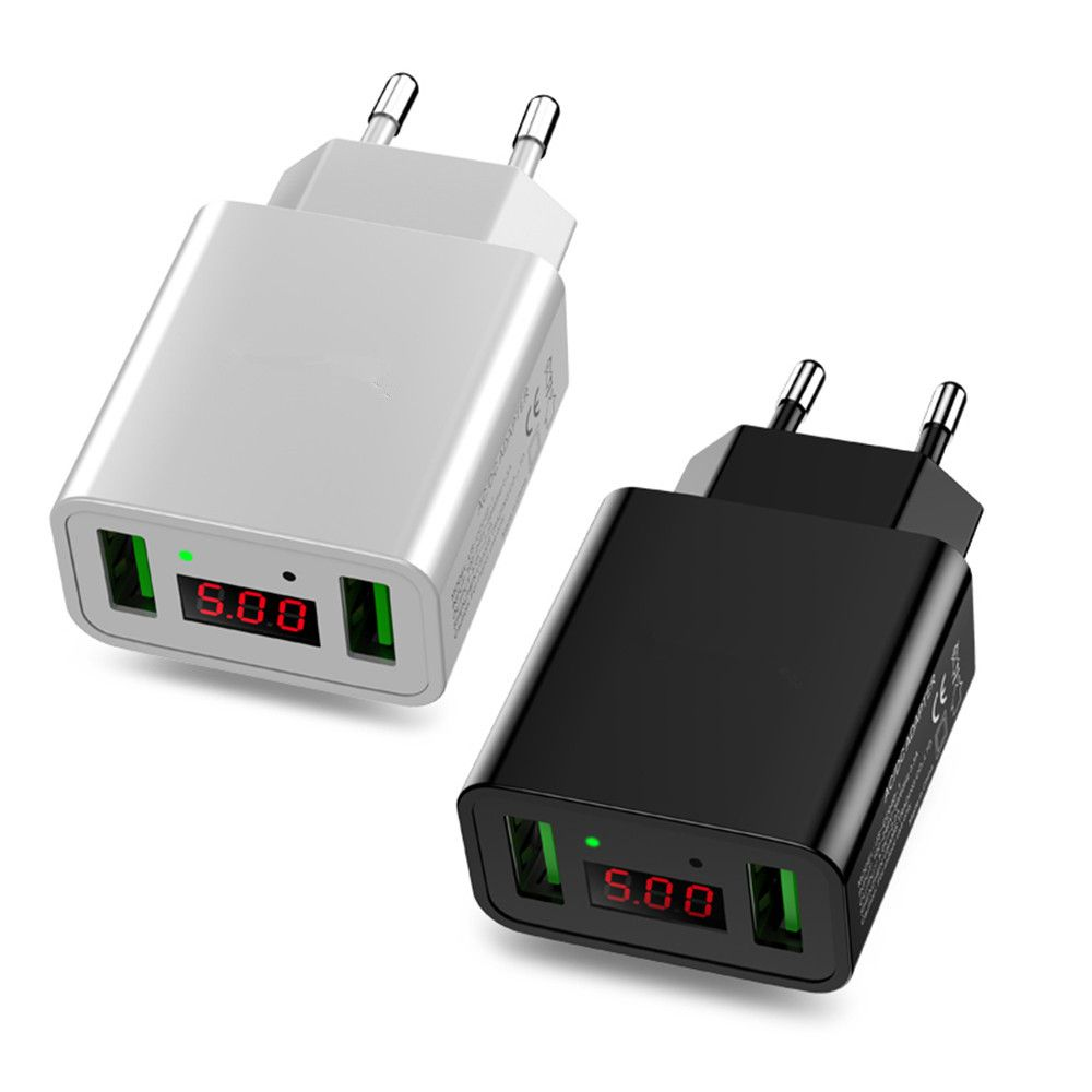 LED Display Dual USB Phone Charger EU Plug the Max 2.2A Smart Fast Charging Mobile Wall Charger for iPhone iPad Samsung