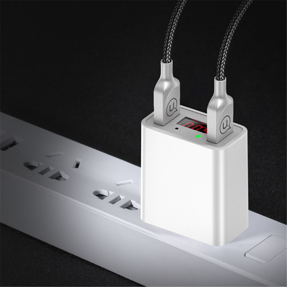 LED Display Dual USB Phone Charger US Plug The Max 2.2A Smart Fast Charging Mobile Wall Charger for iPhone iPad Samsung