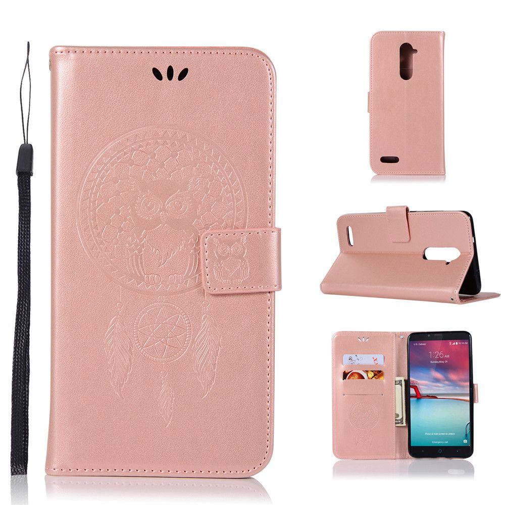Owl Campanula Fashion Wallet Cover For ZTE Z981 / Zmax Pro Case PU luxury Retro Flip Leather Case Phone Bag With Stand
