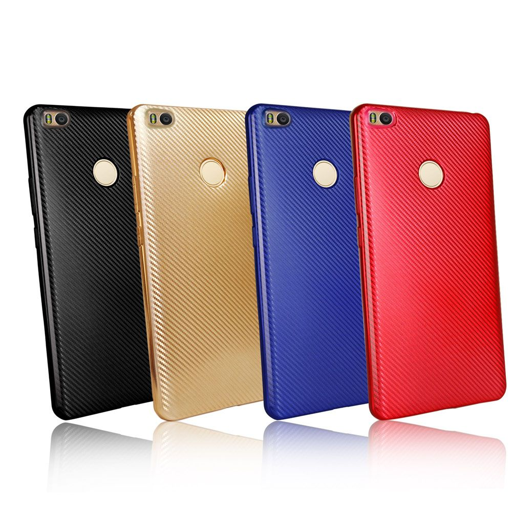 Electroplated Carbon Fiber Case for Xiaomi Max 2 TPU Soft Back Cover