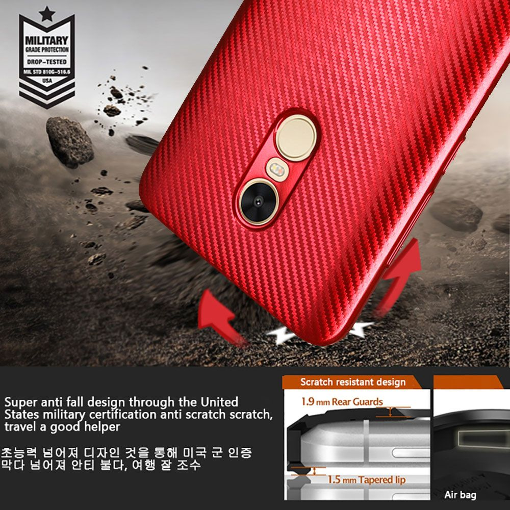 Electroplated Carbon Fiber Case for Xiaomi Redmi Note 4 / 4 Pro TPU Soft Back Cover