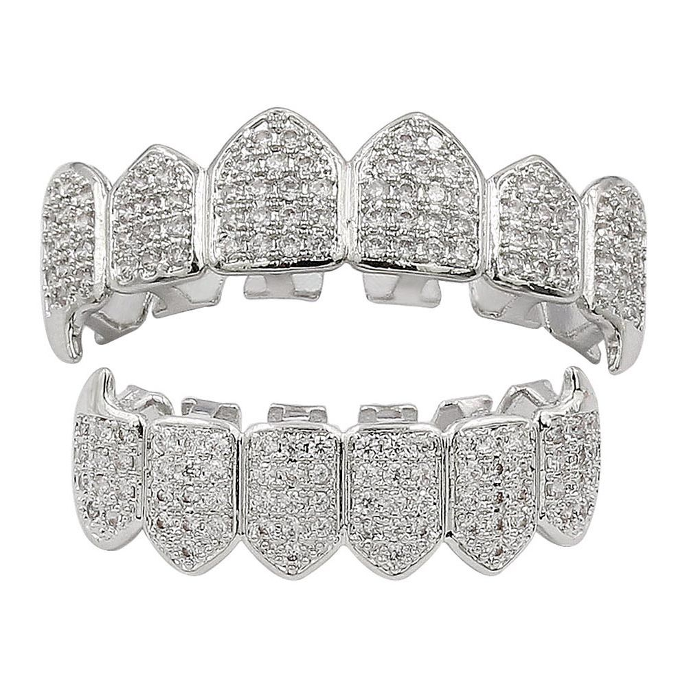 18K Gold Silver Plated Micro Pave CZ Stone Vampire Fangs Teeth Grillz