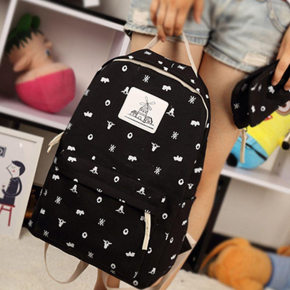 Girl's Backpack 4 Pcs Animal Pattern Canvas Kids Schoolbag