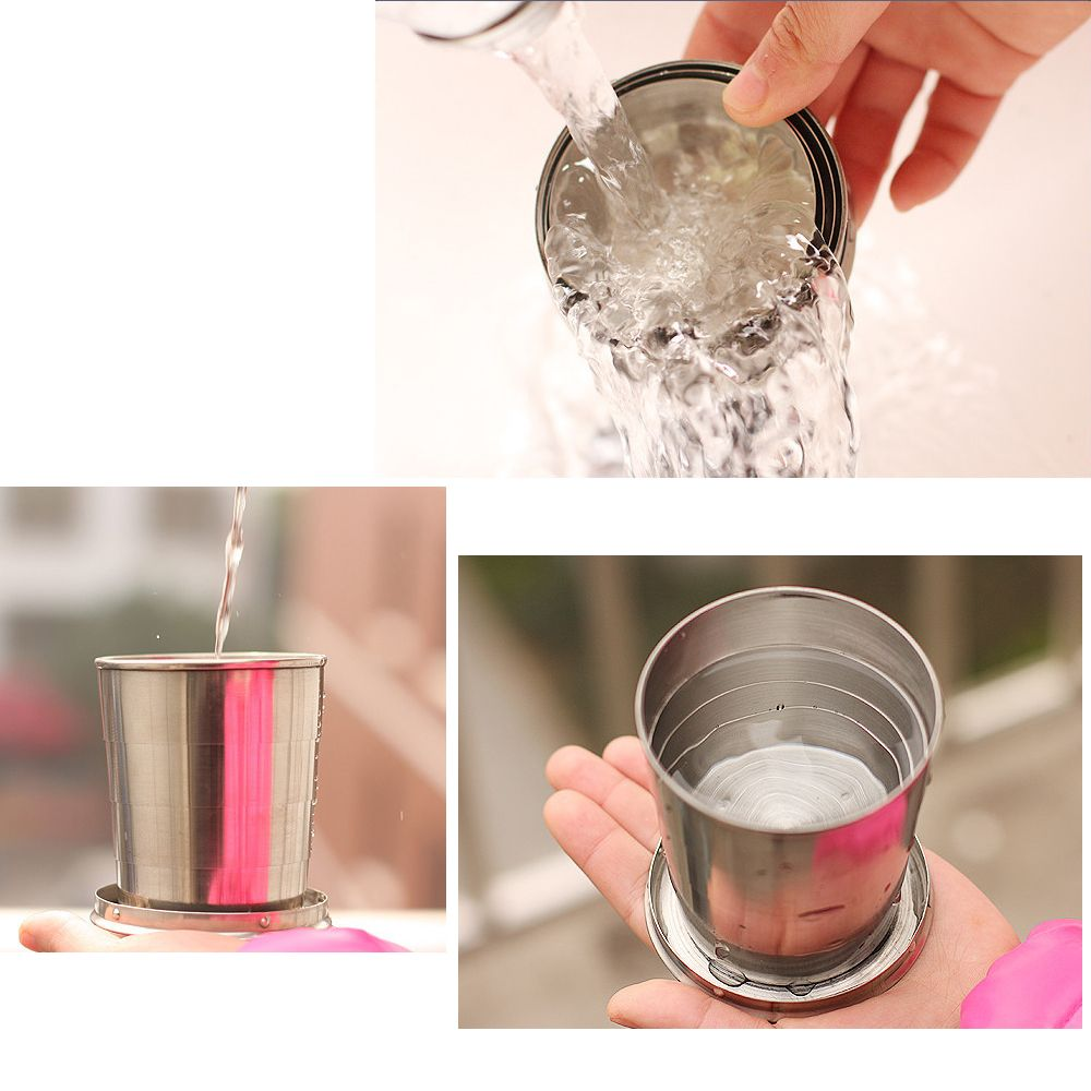 Creative Stainless Steel Retractable Cup Portable Outdoor Wine Cup.
