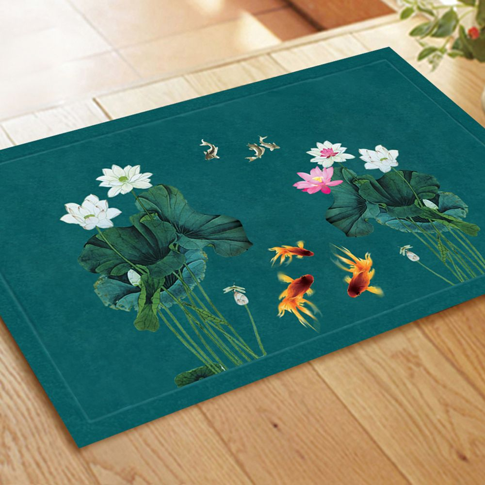 Chinese Style Fish Water and Lotus Pattern Carpet Pads