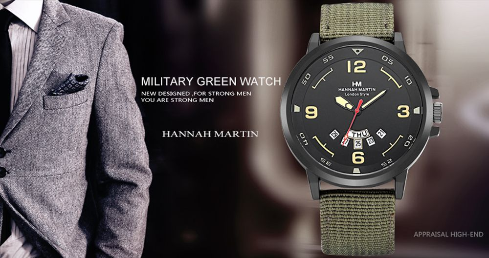 Men Sports Army Leather Band with Calendar Fashion Watch