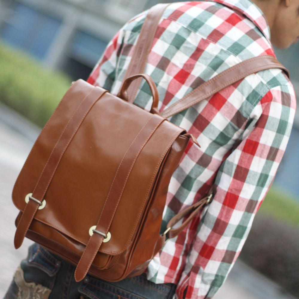 1Pc Leather Backpack Men'S School Bags