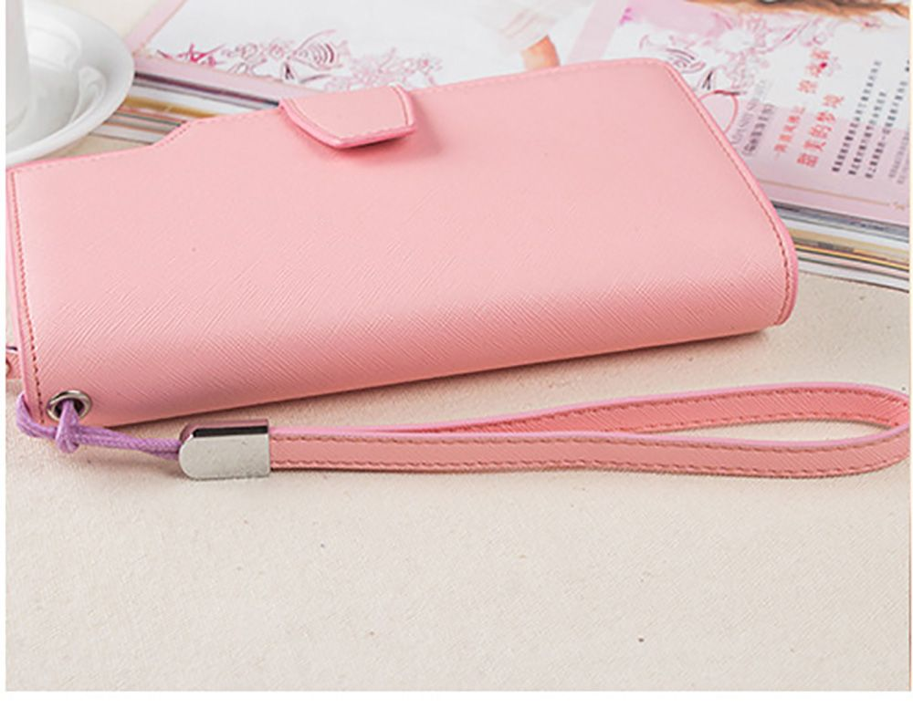 Handbag Wallet New Cross-Shaped Long Candy-Colored Zipper Purse Lady with Button