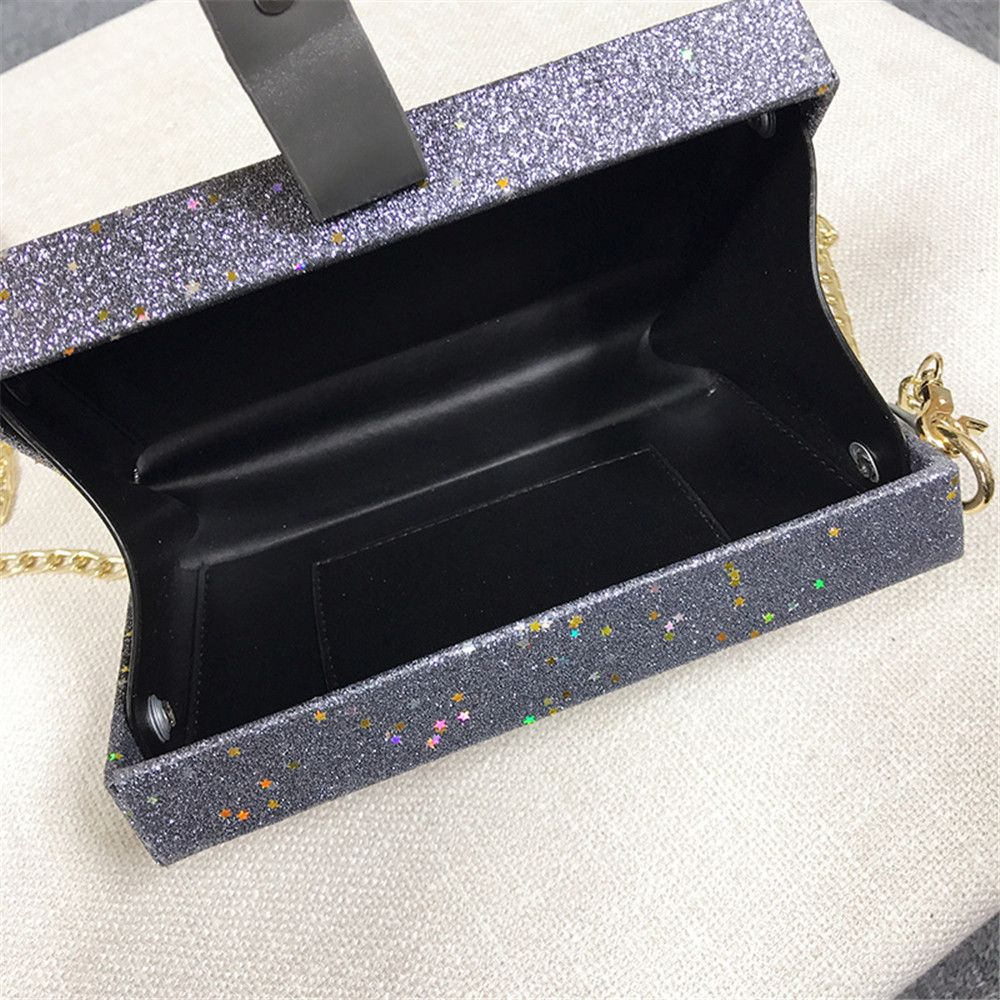Girl Simple Joker Box Bag Sequined Chain Messenger Shoulder Bag