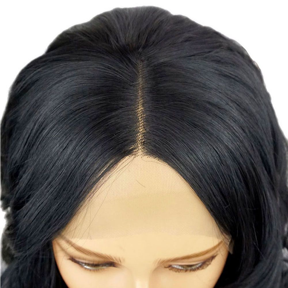 Long Natural Wavy Hair Synthetic Lace Front Wig Heat Resistant for Beauty Woman with Baby Hair