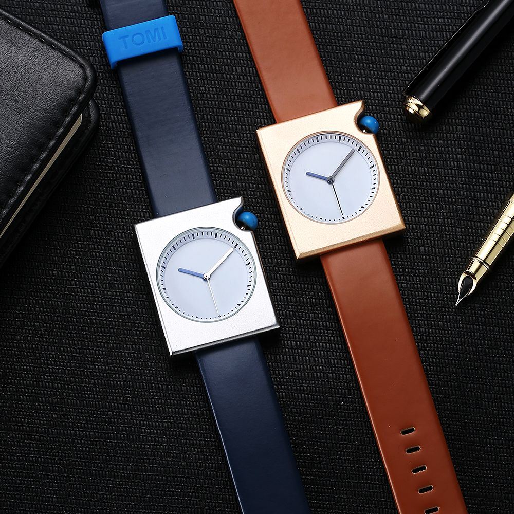 T002 Unisex Fashion Leather Strap Rectangle Case Wrist Watch with Box
