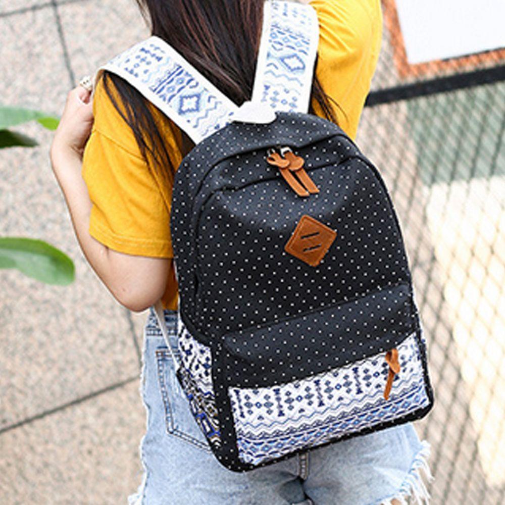 Backpack Dots Canvas 3 Pcs Kids Schoolbag