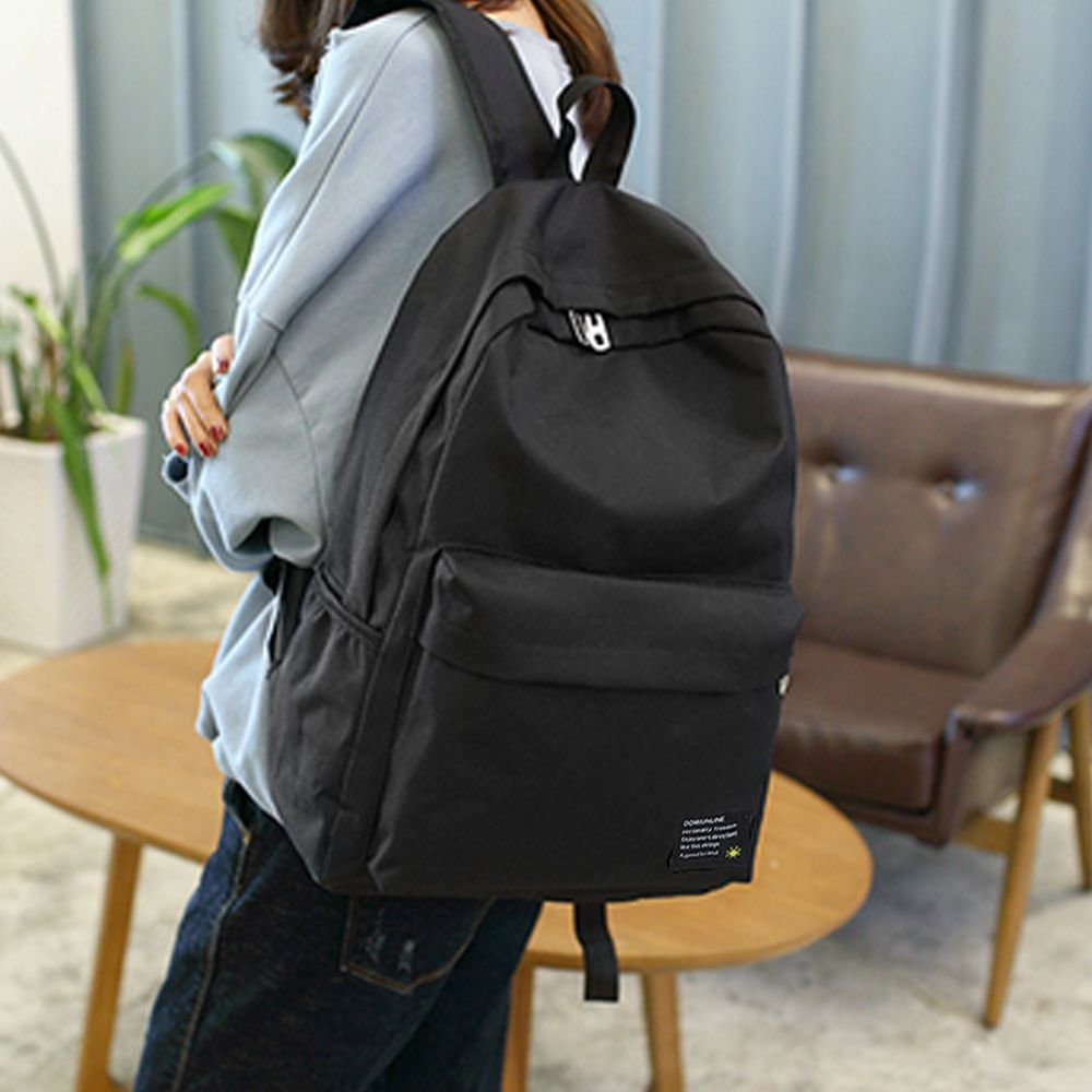 Men's Backpack Casual Simple Solid Color Travel Zipper Schoolbag