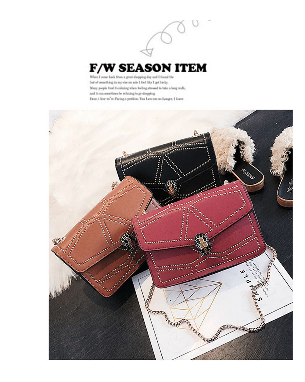 Snake Head Chain Fashion Package Buckle Small Bag Shoulder Diagonal Package