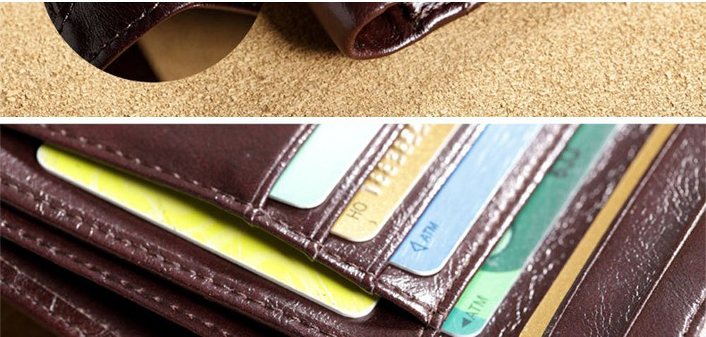 Purse Men'S Leather Short Paragraph First Layer of Leather Multi-Card Holder Wallet Retro Large Capacity Casual Bag Thin