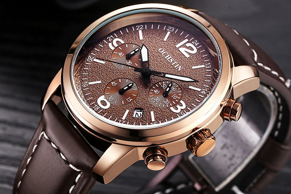 OCHSTIN GQ047A Military Men Analog Leather Quartz Watch