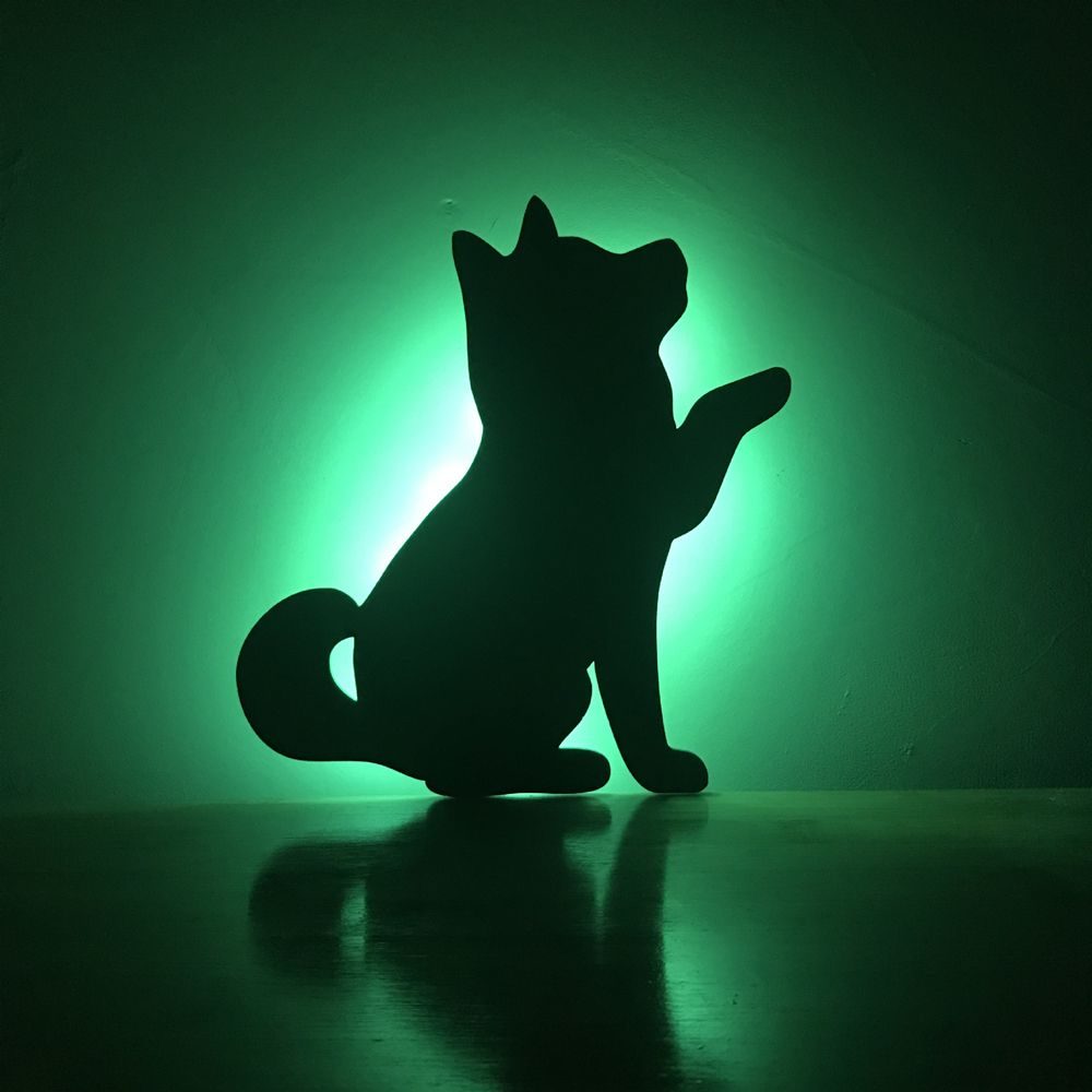 Color Remote Control Beckon Dog Shadow Projection lamp LED Small Night Light