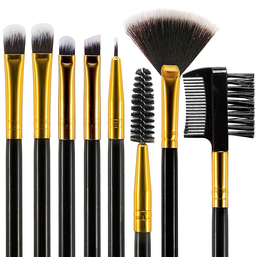 Black Wood Handle Makeup Brushes 12PCS