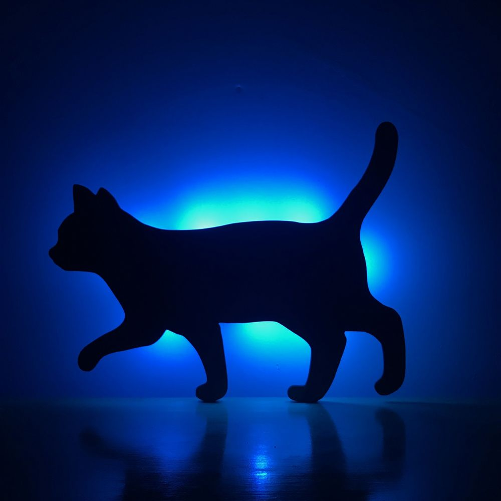 Colorful Remote Walk The Cat Shadow Projection Lamp LED  Night Light