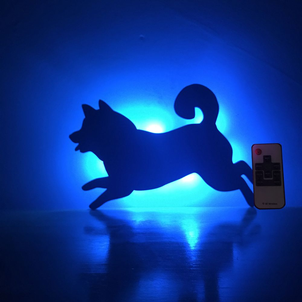 Colorful Remote Running Dog Shadow Projection Lamp LED  Night Light