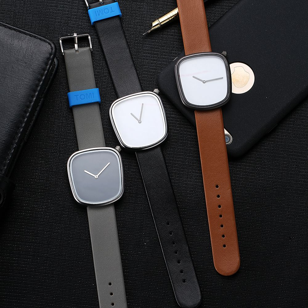 TOMI T003 Unisex Unique Leather Band Quartz Watches with Box