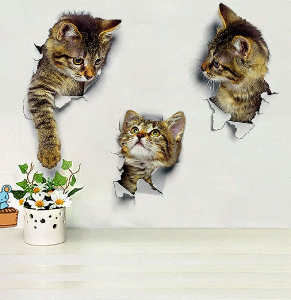 3D Cute Cats Wall Stickers for Kids Animals Cartoon Cats Decals for Nursery Room