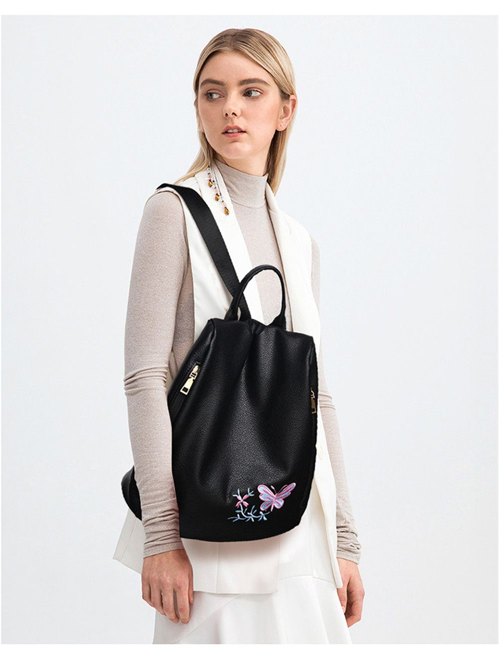 Embroidered Shoulders Female Fashion Mommy Backpack