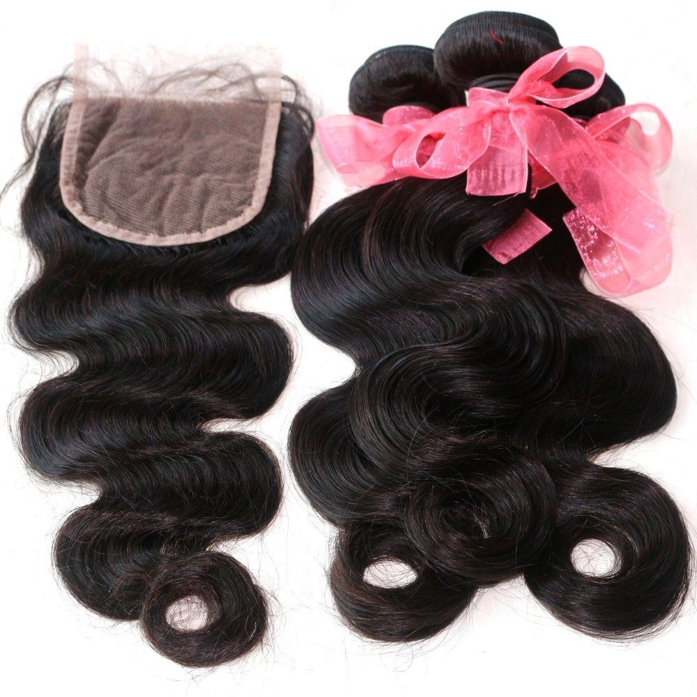Body Wave Indian Human Virgin Hair Weave 4pcs with One Piece Lace Closure