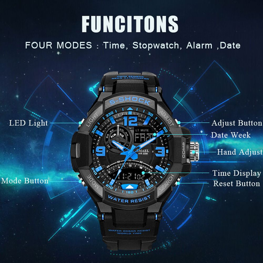 SMAEL 1516 Multi-function Waterproof Durable Outdoor Sport LED Watch