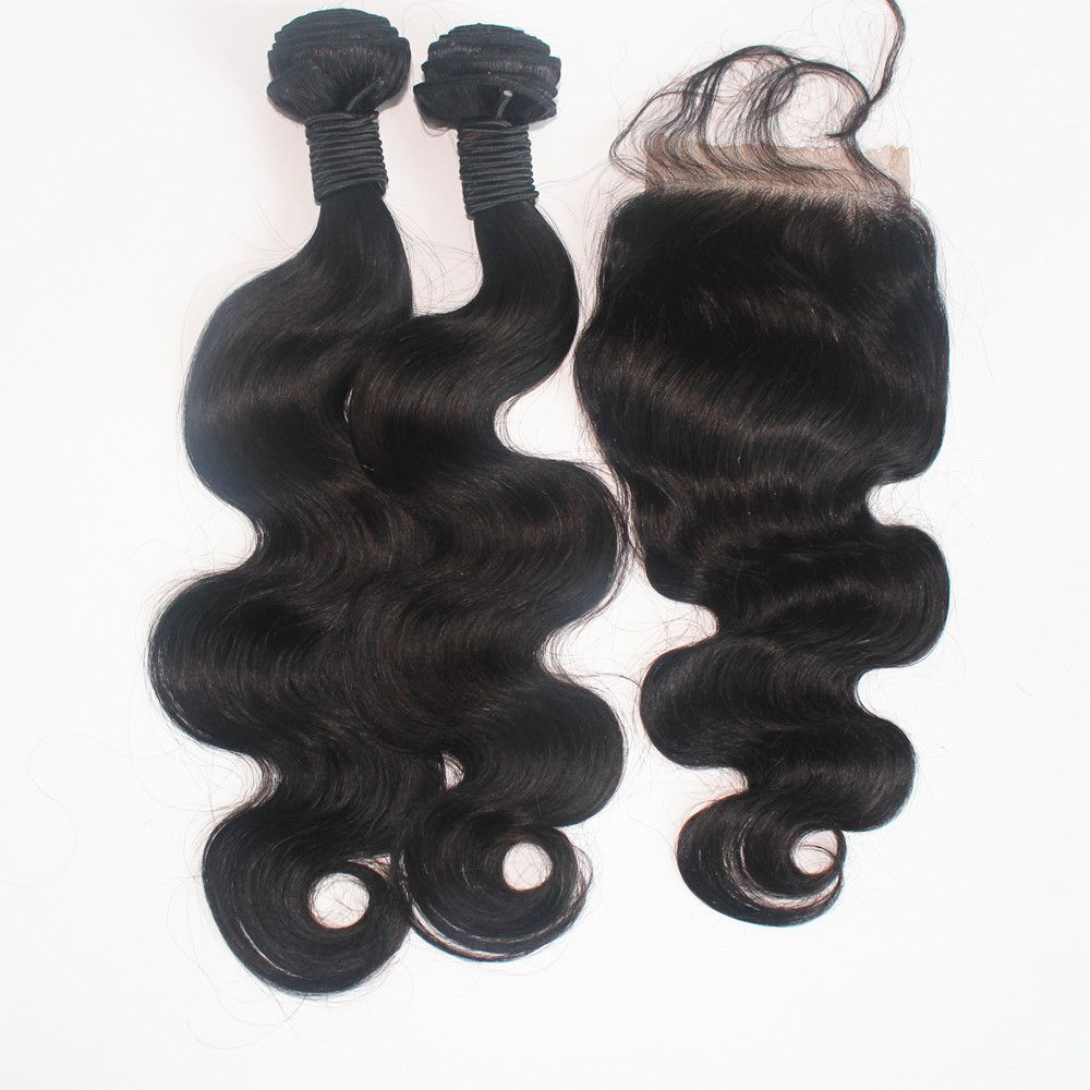 Body Wave Brazilian Human Virgin Hair Weave 2pcs with One Piece Lace Closure