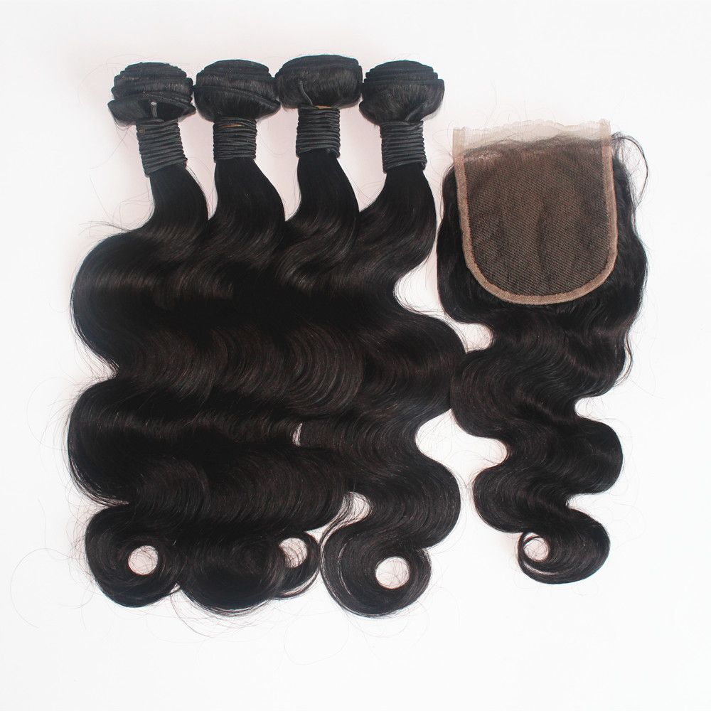 Body Wave 100 Percent Brazilian Human Virgin Hair Weave 3pcs with One Piece Lace Closure