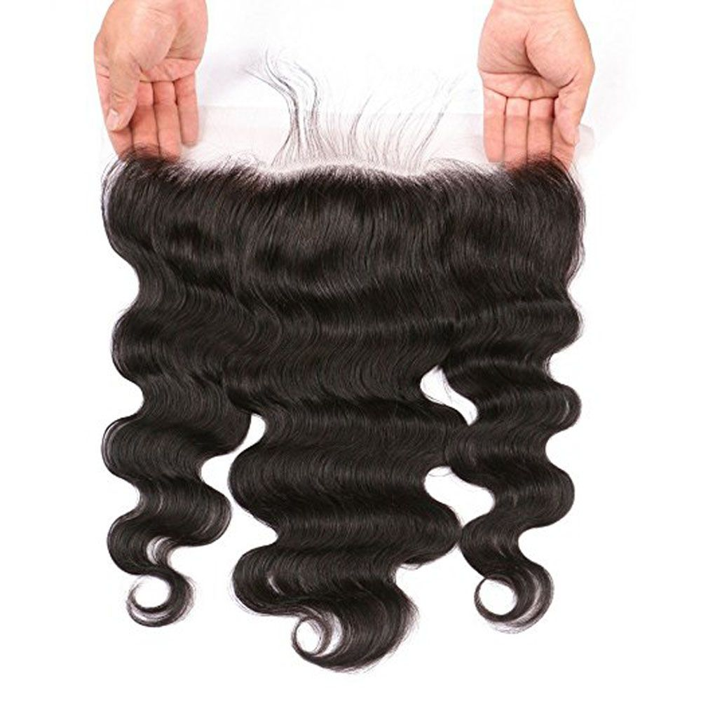 Lace Frontal Brazilian Body Wave Virgin Human Hair Free Part Natural Color Bleached Knots