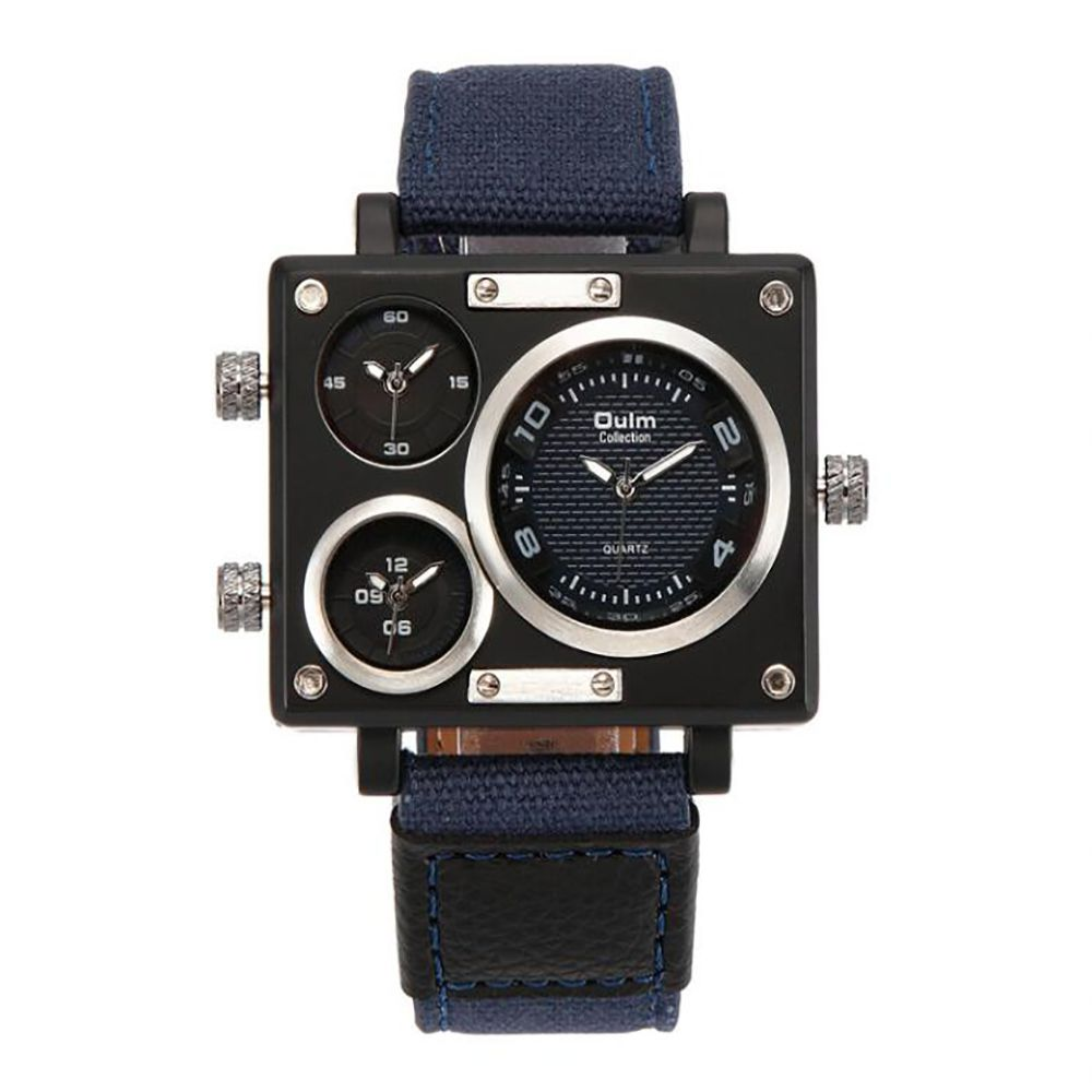 Square Canvas Wrist Watch in Multi Time Foreign Trade Area