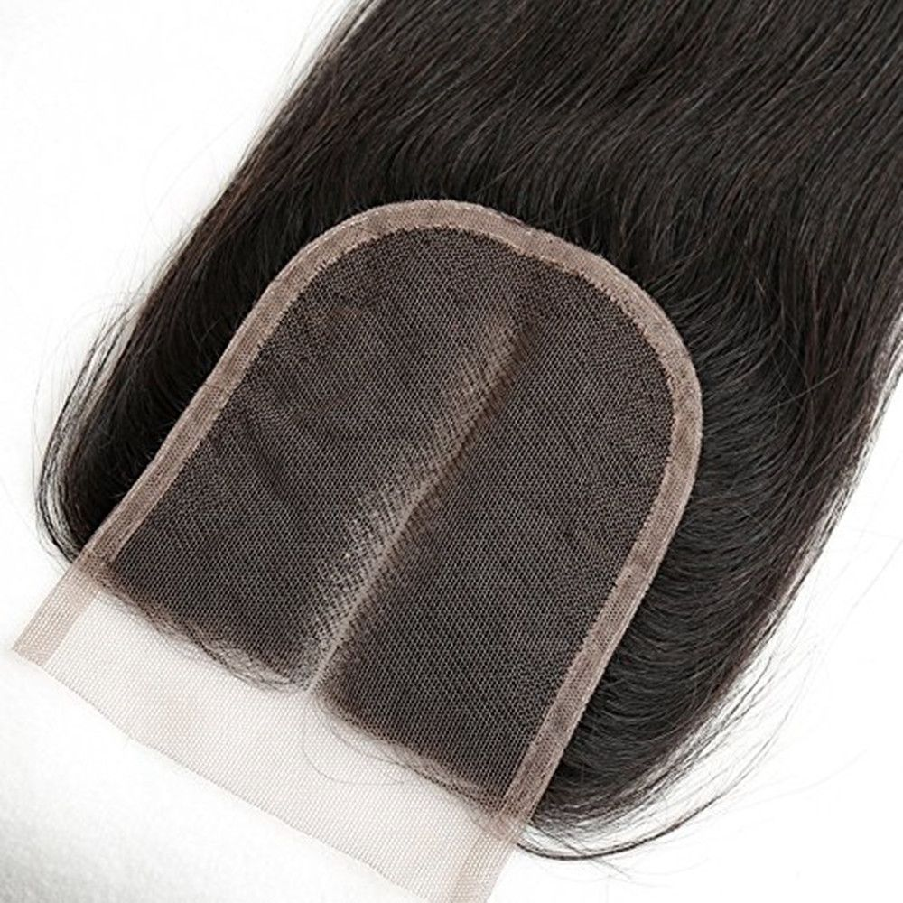 Middle Part Lace Closure Straight Brazilian Virgin Hair Natural Black 14 inch