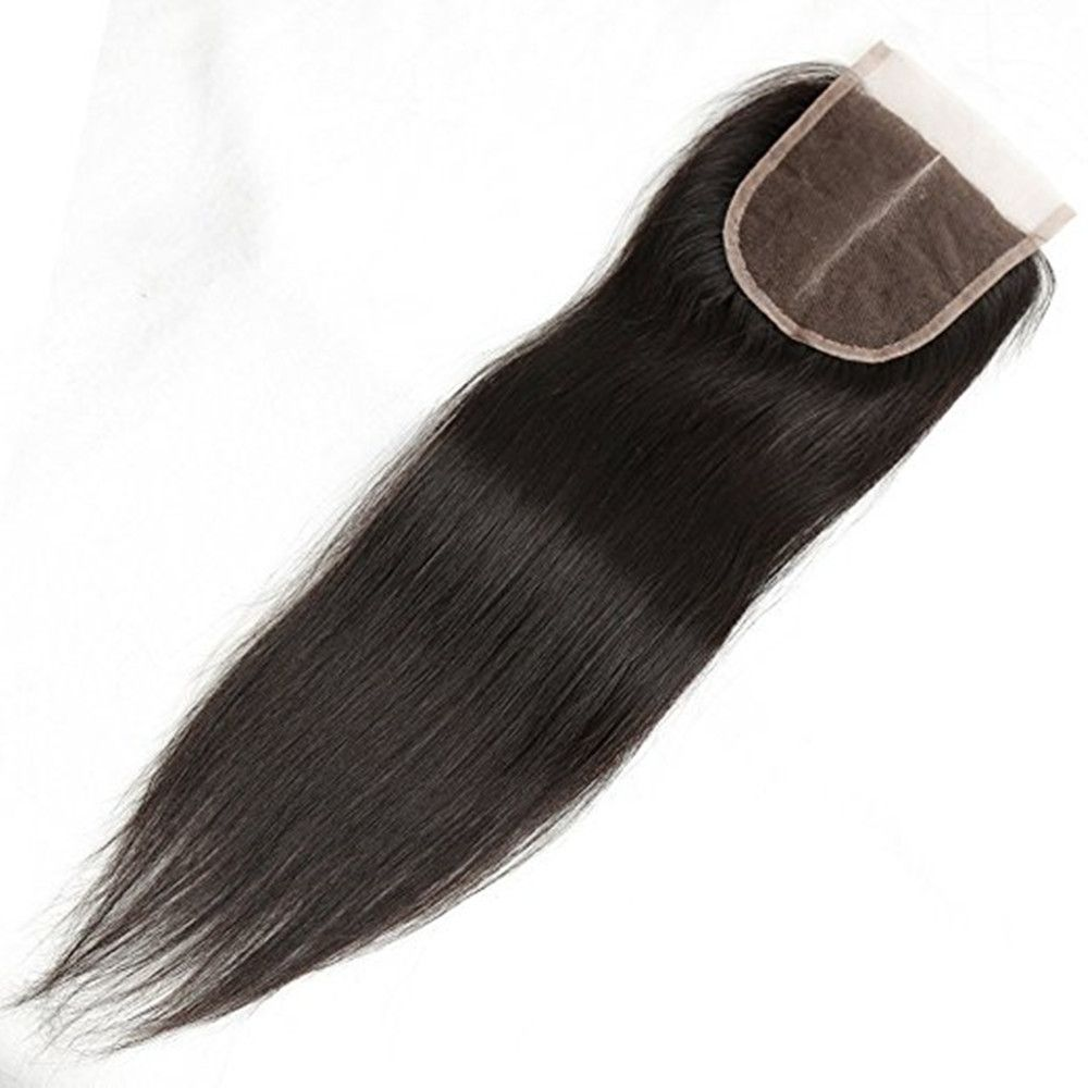 Straight Middle Part Lace Closure Human Hair Unprocessed Virgin Brazilian Full Frontal Natural Black Color