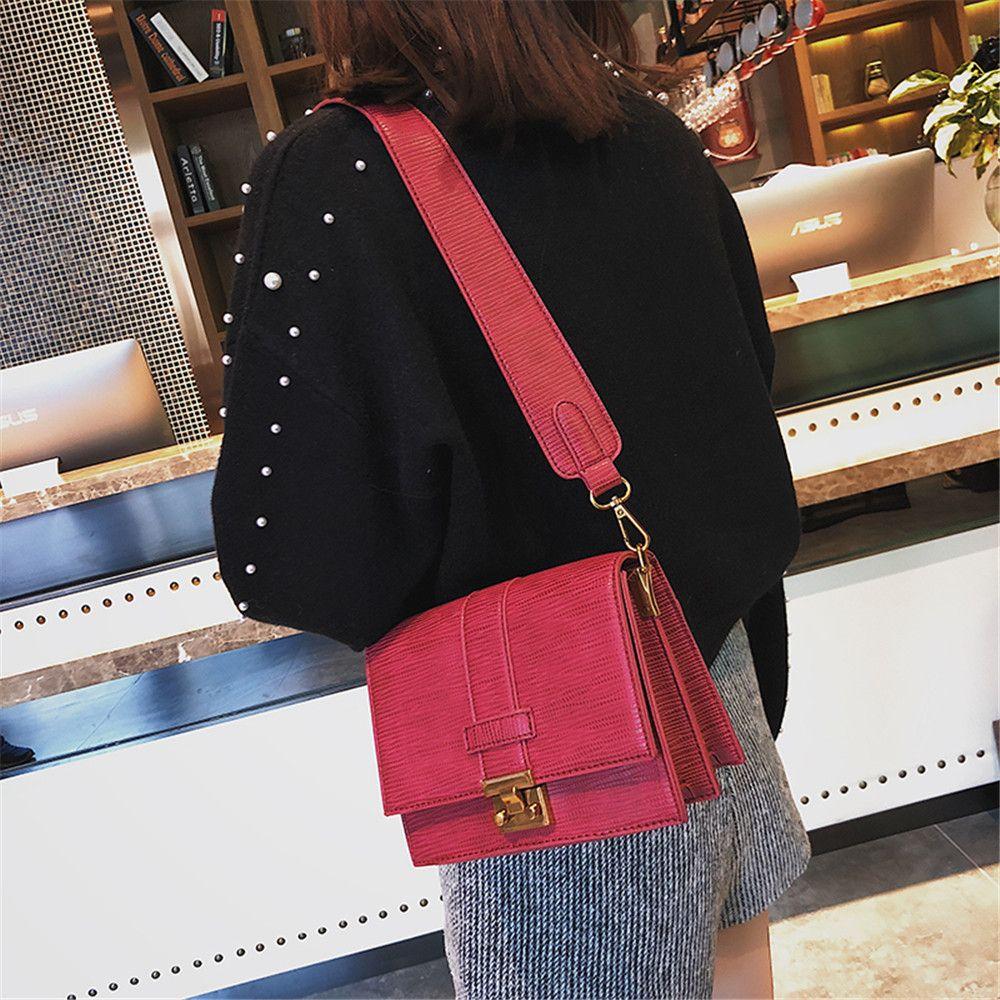 Square Lock Bag Female  Crossbody Wide Shoulder Straps