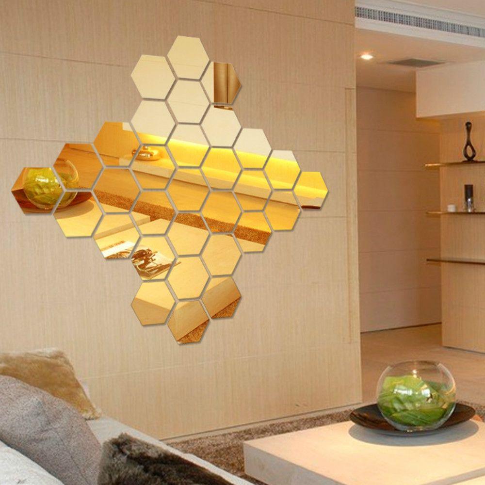 2018 12 Pcs/Set Hexagon Mirror DIY Art Wall Home Decor Living Room ...