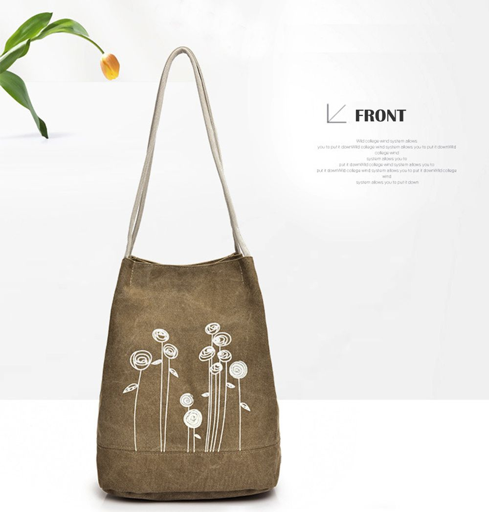 Women Simple Canvas Shoulder Bag Large Capacity Handbag for Girls