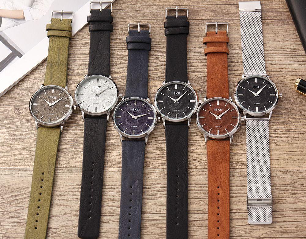 IEKE 89007 Fashion New Casual Leather Men Quartz Wristwatch